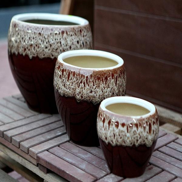 Brown Ceramic Pots M-CP-202-IP