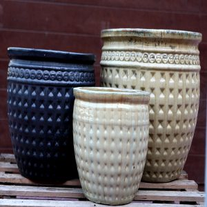 Dark Blue and Cream pots M-CP-07-L-IP