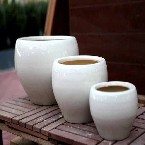 White Ceramic Pots M-CP-49-IP