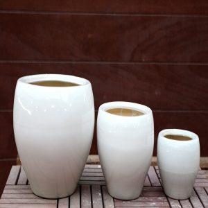 White Ceramic Pots M-CP-90-IP